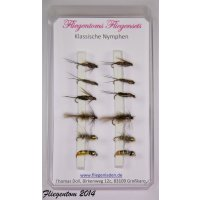 Fliegenset klassische Nymphen 10 mit Widerhaken