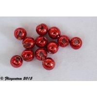 Fliegentom Tungstenperlen geschlitzt Rot metallic