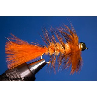 Wooley Bugger mit Kopfperle orange Kyrstal