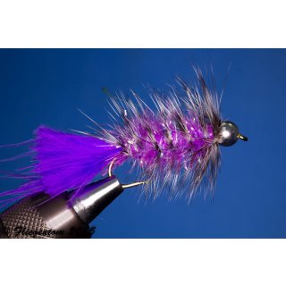 Wooley Bugger mit Kopfperle violett grizzly Krystal
