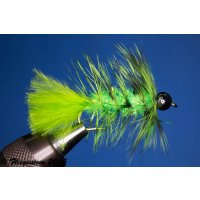 Wooley Bugger mit Kopfperle chartreuse grizzly Krystal