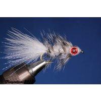 Fishmask Wooley Bugger weiß grizzly 8 mit Widerhaken