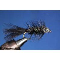 Fishmask Wooley Bugger Krystal schwarz 8 ohne Widerhaken