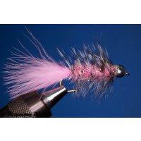 Wooley Bugger mit Kopfperle Pink Krystal 10 mit Widerhaken