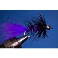 Wooley Bugger mit Kopfperle violett Krystal 8 mit Widerhaken