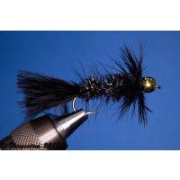 Wooley Bugger mit Kopfperle schwarz Krystal 2 mit Widerhaken