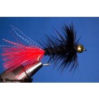 Wooley Bugger mit Kopfperle schwarz/rot 10 mit Widerhaken