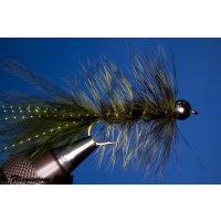 Wooley Bugger mit Kopfperle dunkeloliv 6 mit Widerhaken