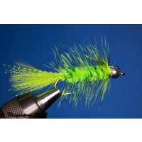 Wooley Bugger mit Kopfperle chartreuse grizzly 2 ohne...