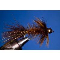 Wooley Bugger mit Kopfperle braun 10 mit Widerhaken
