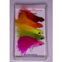 Fliegentom Set mit 5 farbigen Marabou Muddler Streamern