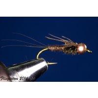 Fasanenschwanz-Nymphe mit Kopfperle 12 mit Widerhaken...