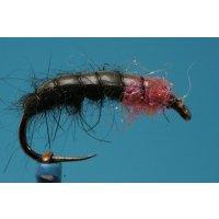 Schwarze UV-Pink Nymphe 12 mit Widerhaken