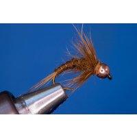 Uni-Nymphe dunkelbraun 8 mit Widerhaken Messingperle silber